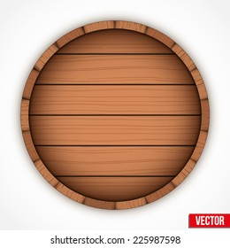Set of wooden casks for alcohol drinks emblem. Vector illustration isolated on white background.