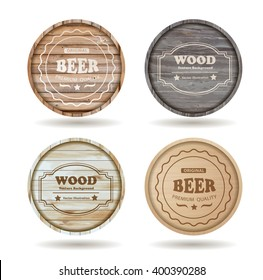 Set of wooden casks with alcohol drinks emblems - vector illustration template design ( Image trace of wooden background )