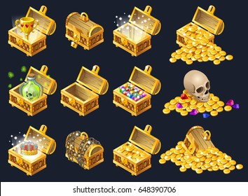 Set of wooden chests with coins for the game. Isolated vector cartoon illustration.