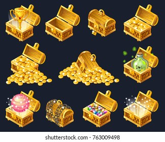 Set of wooden chests with coins for the game UI. Isolated vector cartoon illustration.