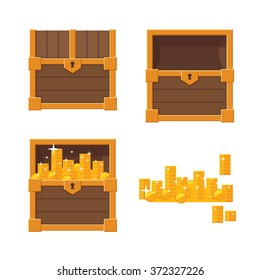 Set of wooden chests on white background: closed chest, empty chest, chest with golden coins.