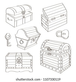 Set of wooden chests. Open empty chest, full of gold chest and closed with lock chest. Vector illustration, EPS 10