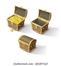 Set of wooden chests. Open empty chest, full of gold chest and closed with lock chest. Vector illustration of cartoon treasure chests.