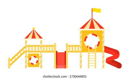 Set of wooden children's towers vector icon flat isolated