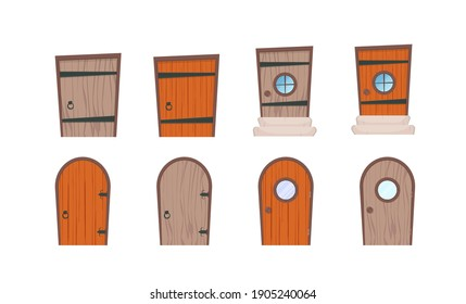 Set of wooden doors in cartoon style. Elements for the design of games or houses. Isolated. Vector