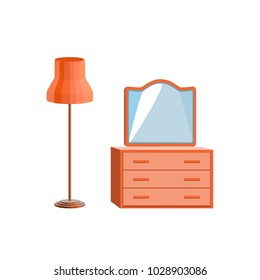 Set of wooden furniture. Orange floor lamp, chest of drawers and mirror. Icons, isolated objects of the interior. Vector illustration