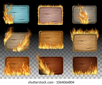 Set wooden game panels, gui elements decorated with flame burn. Isolated fire flames and boards for message. Realistic vector illustration.