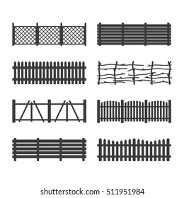 Set Wooden Garden Fences isolated on white background, vector illustration. Rural fencing wood boards silhouette construction in flat style