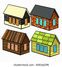 set of wooden houses and brick and stone for the cartoon vector illustration