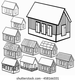 set of wooden houses and brick, stone graphics vector illustration