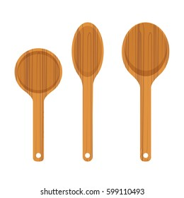 Set of wooden kitchen spoon icon isolated on white background