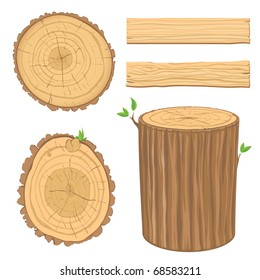 set of wooden materials - cross section of tree trunk, isolated on white background