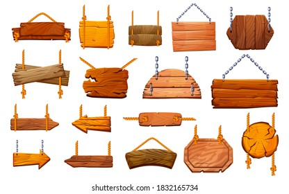 Set of wooden pillars signboards hanging on ropes and metal chains isolated. Vector information posts, sign boards and arrows direction pointers. Empty blank guideposts, way road traffic warning poles