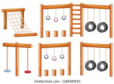 Set of wooden playground equipments illustration