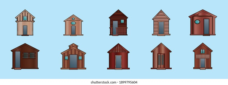 set of wooden shack cartoon icon design template with various models. modern vector illustration isolated on blue background
