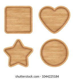 Set of wooden signs with frames. Wooden labels with various shapes: heart, square, circle, star. Vintage signs collection. Eps10 vector