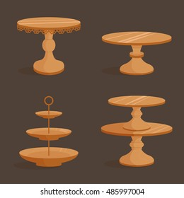 Set with wooden stands for cakes. Vector illustration. Isolated.