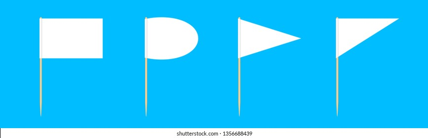 set of wooden toothpicks flags miniature isolated on blue background, toothpick flags rectangle blank or white, toothpick flags triangle and oval circle toothpick flags for mini stick pointer message