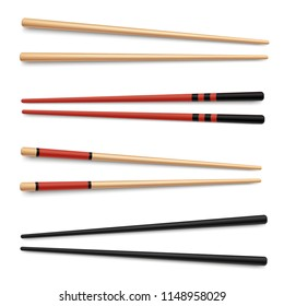 Set of wooden traditional japanese, chinese, asian food chopsticks. Isolated vector illustration on white background. Collection of 4 pairs classic eastern cuisine chopsticks. Realistic design