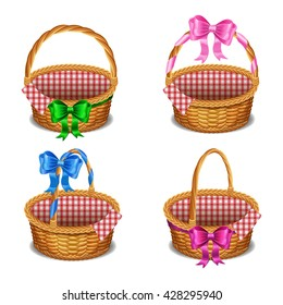 Set of wooden wicker baskets with bows, isolated on a white background. Vector illustration