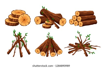 Set of woodpile, brushwood, firewood hut, stacks wooden logs and branches isolated on white background. Timber pile for bonfire design elements -flat vector illustration