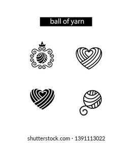 Set of wool balls and yarn hearts for logo, icon. Vector template.