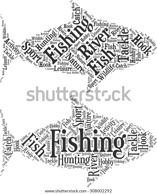 Set of word clouds in the form of an abstract fish