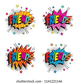 set of word friends on colorful retro comic speech bubbles with halftone dotted shadow on white background