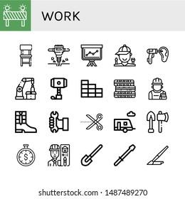 Set of work icons such as Barrier, Chair, Jackhammer, Staff, Mechanic, Otoscope, Robotic arm, Hammer, Brick wall, Tires, Repairman, Boots, Worker, Scissors, Trailer, Tools , work