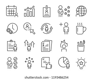 set of work icons, such as working, career, job, search, person, recruitment and more
