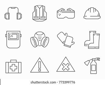Set of work safety line vector icons