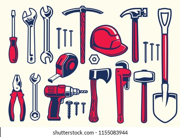 set of worker hand tools