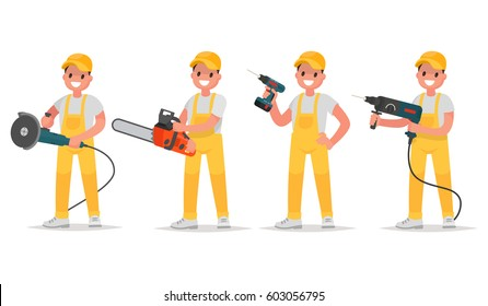 Set of worker holding electric tools for repair and construction. Man holds an electric grinder, a chainsaw, a screw gun a drill