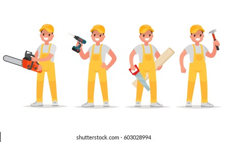 Set of worker with various tools. Man with a chainsaw, screw gun, saw and a hammer. Vector illustration in a flat style