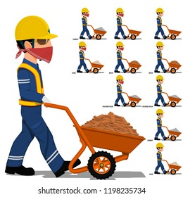 Set of worker is walking with construction material (sand ,cement,crushed rock, brick) on transparent background
