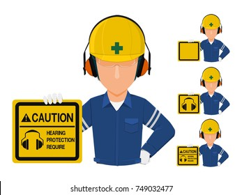 Set of worker who is holding warning sign about  hearing protection require