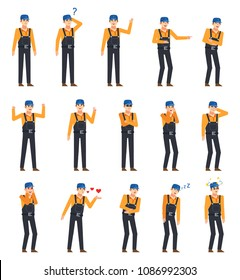 Set of workers, couriers or mechanics showing various emotions. Man in overalls laughing, thinking, angry, dazed and showing other facial expressions. Flat design vector illustration