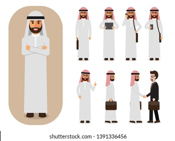 Set of working Arab people on white background. Arab businessman with gadgets in flat design people characters.