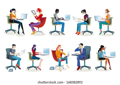 Set of working men and women sitting in their office chairs. They work with their laptop or talking on the phone. They work as graphic designers, secretaries, programmers, and journalists.