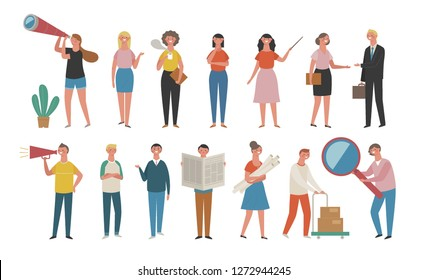 A set of working people pose on a variety of concepts. Teamwork character source illustration. flat design vector graphic style.