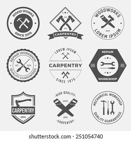 set of working tools, carpentry, workshop labels, logos, badges and design elements