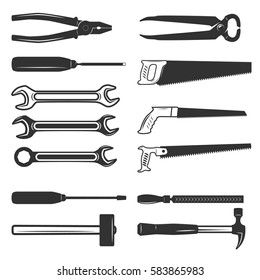 Set of the working tools isolated on white background. Design elements for logo, label, emblem, sign, brand mark. Vector illustration.
