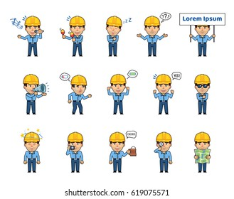 Set of workman characters showing various actions, emotions. Funny worker holding placard, loudspeaker, taking photo, reading map, sleeping and doing other actions. Simple style vector illustration