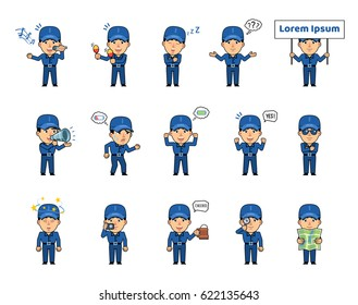 Set of workman characters showing various actions, emotions. Funny worker singing, celebrating, sleeping, thinking, holding placard, loudspeaker and doing other actions. Simple vector illustration