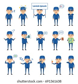 Set of workman characters showing various actions, emotions. Cheerful worker sleeping, dazed, holding signboard, loudspeaker and showing other actions. Simple vector illustration