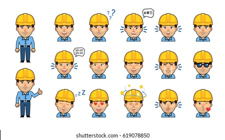 Set of workman emoticons. Kawaii worker emojis showing diverse facial expressions. Happy, sad, laugh, surprised, think, angry, dazed, sleepy, serious and other emotions. Simple vector illustration