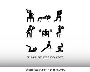 Set of Workout or Exercise Bodybuilding in Gym Center. Consist of Nine Black Illustration about Workout i.e Biceps Curl, Triceps Extension, and more. In Trendy Flat Isolated on White Background.