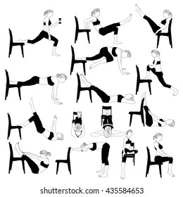 Set of workout exercises at home with a chair. Silhouette of a woman in various poses.