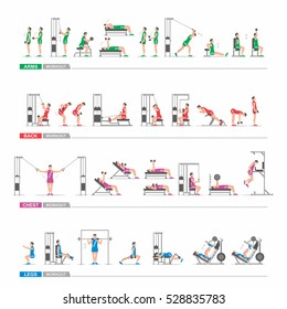 set Workout in gym for the arms, legs, back, chest