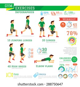 Set of Workout and Gym Exercises Infographics. Vector illustration